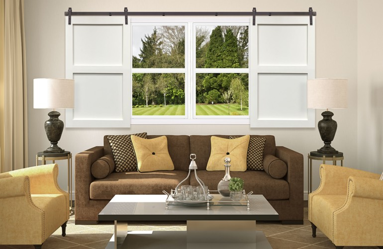 Newest Window Treatment Trends In Houston: Sliding Barn Door Shutters